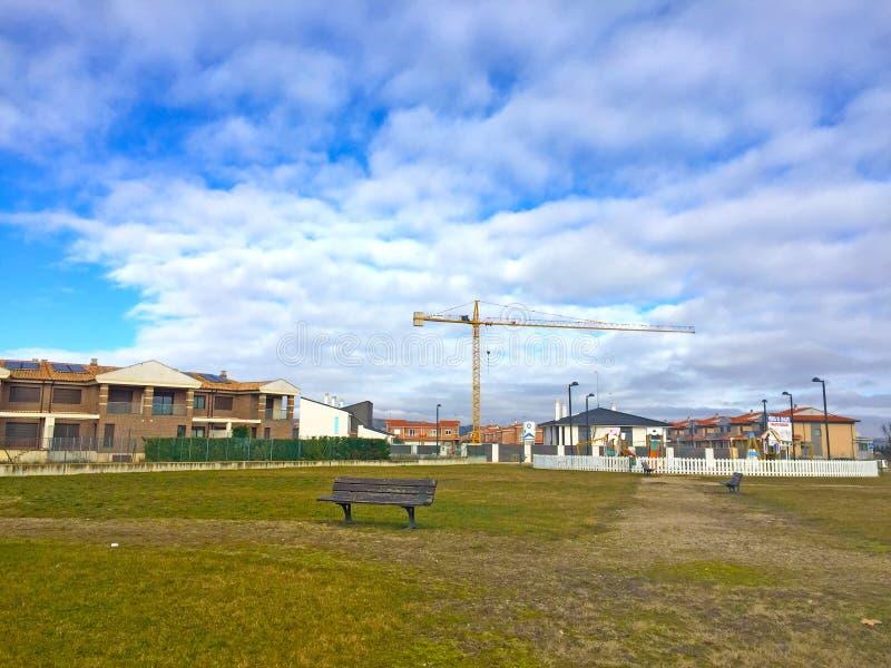 Een nieuwe urbanisatie in aanbouw stock fotografie