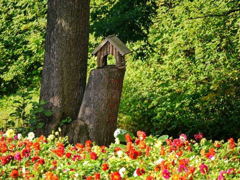 Een nieuwe vogelhuizen in het park dichtbij door bloembed stock foto