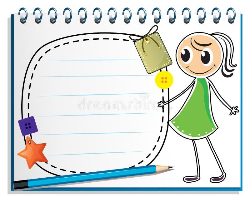 Een notitieboekje met een schets van een meisje met een groene kleding royalty-vrije illustratie