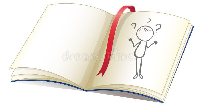 Een notitieboekje met een tekening van een meisje en een rode referentie royalty-vrije illustratie