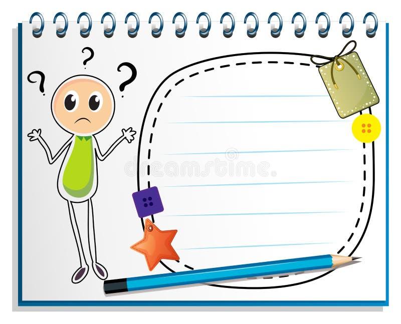 Een notitieboekje met een tekening van een verwarde jongen royalty-vrije illustratie