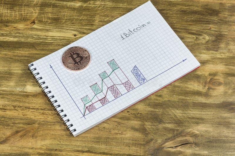 Een notitieboekje met een grafiek en een platinamuntstuk Bitcoin stock afbeeldingen