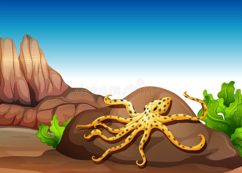Een octopus bij de rots royalty-vrije illustratie
