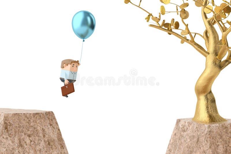 Een officeman trekkracht een ballon over canion, gaat naar gouden boom 3d illu stock illustratie