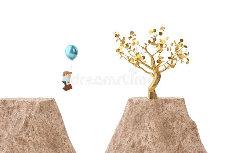 Een officeman trekkracht een ballon over canion, gaat naar gouden boom 3d illu vector illustratie