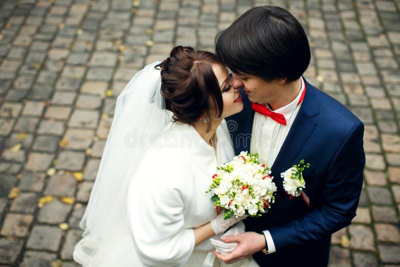 Een ogenblik vóór een kus van blije jonggehuwden stock fotografie
