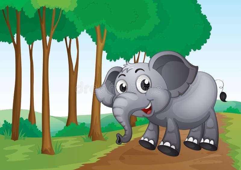 Een olifant die bij het bos glimlachen stock illustratie