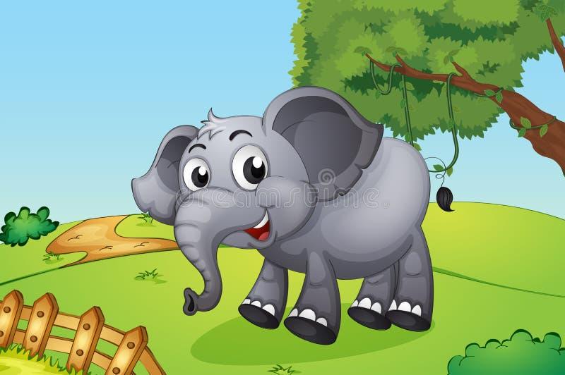 Een olifant die binnen de houten omheining springen stock illustratie
