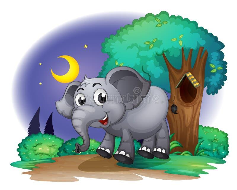 Een olifant in het bos vector illustratie