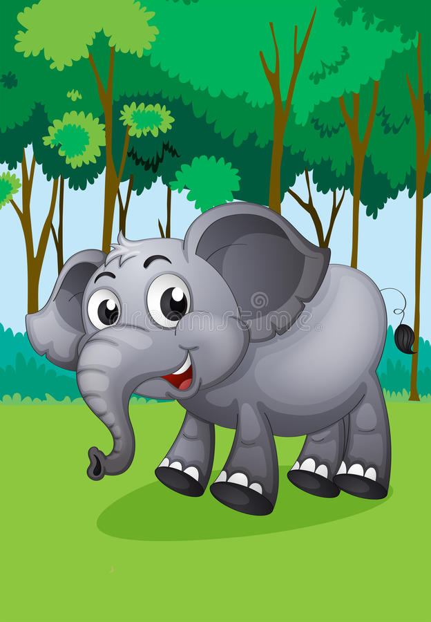 Een olifant in het midden van het bos vector illustratie