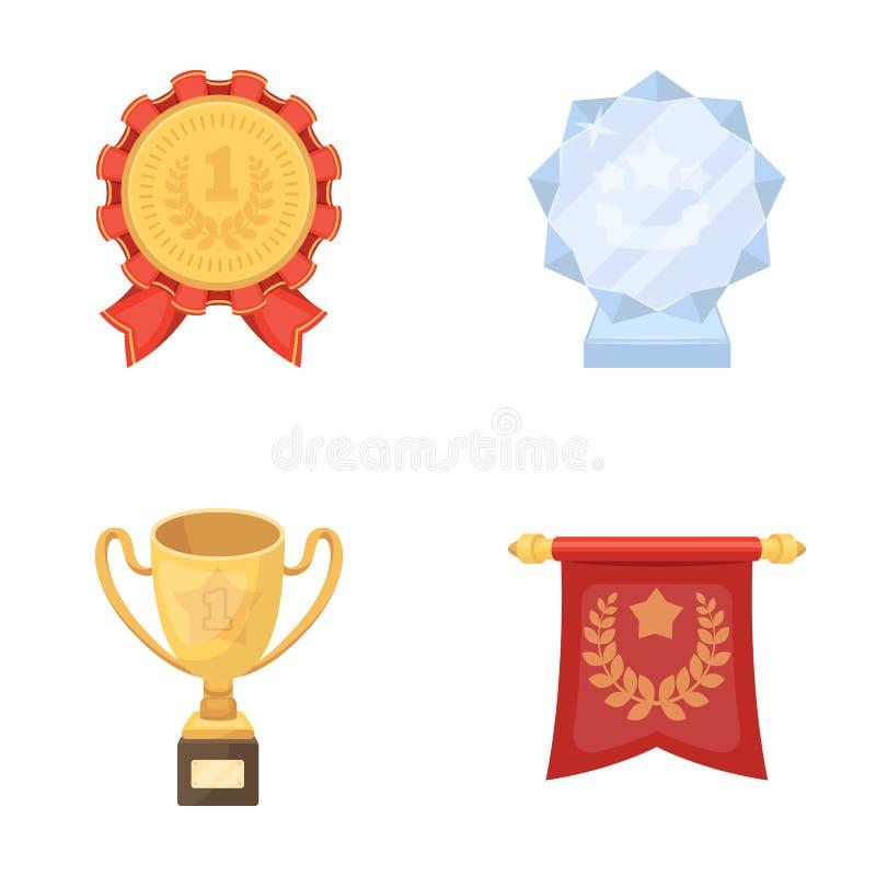 Een Olympische medaille voor de eerste plaats, een kristallen bol, een gouden kop op een tribune, een rode tegenhanger Geplaatste vector illustratie