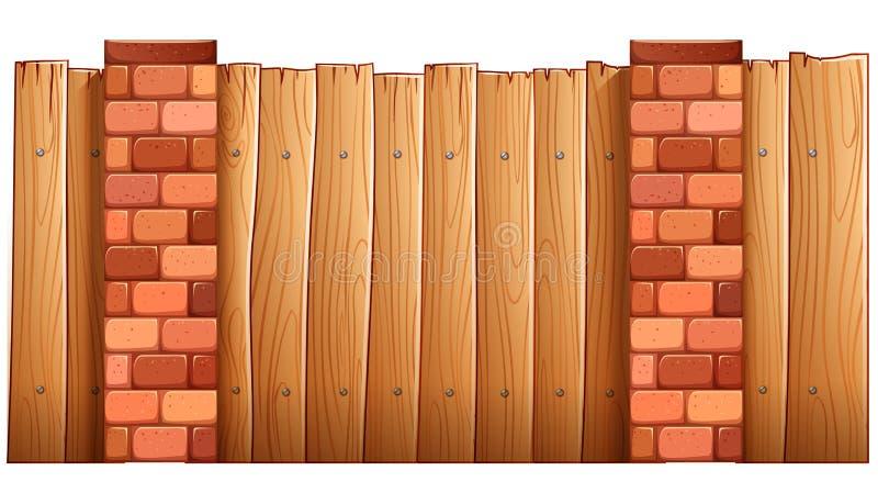 Een omheining van hout en bakstenen wordt gemaakt die vector illustratie