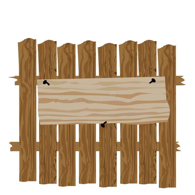 Een omheining van hout wordt gemaakt dat Rubriekadvertenties en reclamespotsillustratie stock illustratie