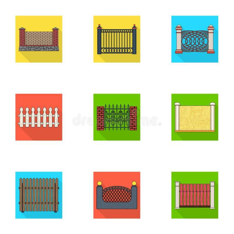 Een omheining van metaal en bakstenen, houten palissade en andere verscheidenheden Pictogrammen van een de verschillende omheinin stock illustratie