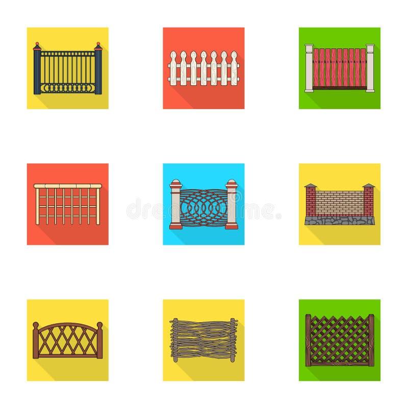 Een omheining van metaal en bakstenen, houten palissade en andere verscheidenheden Pictogrammen van een de verschillende omheinin royalty-vrije illustratie