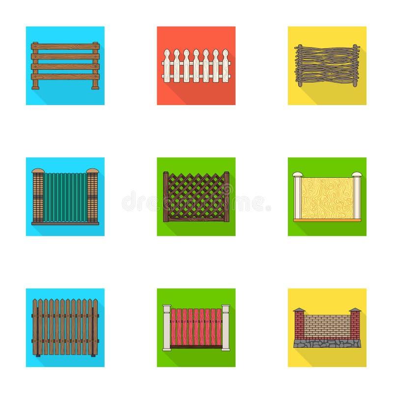 Een omheining van metaal en bakstenen, houten palissade en andere verscheidenheden Pictogrammen van een de verschillende omheinin vector illustratie