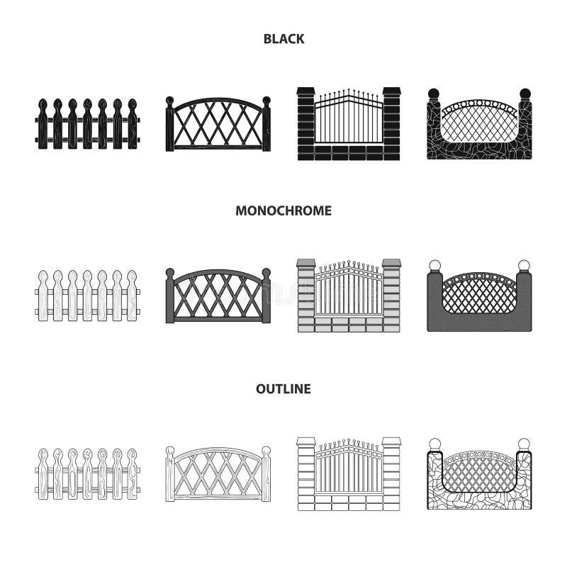 Een omheining van metaal en bakstenen, houten palissade Pictogrammen van een de verschillende omheinings vastgestelde inzameling  vector illustratie