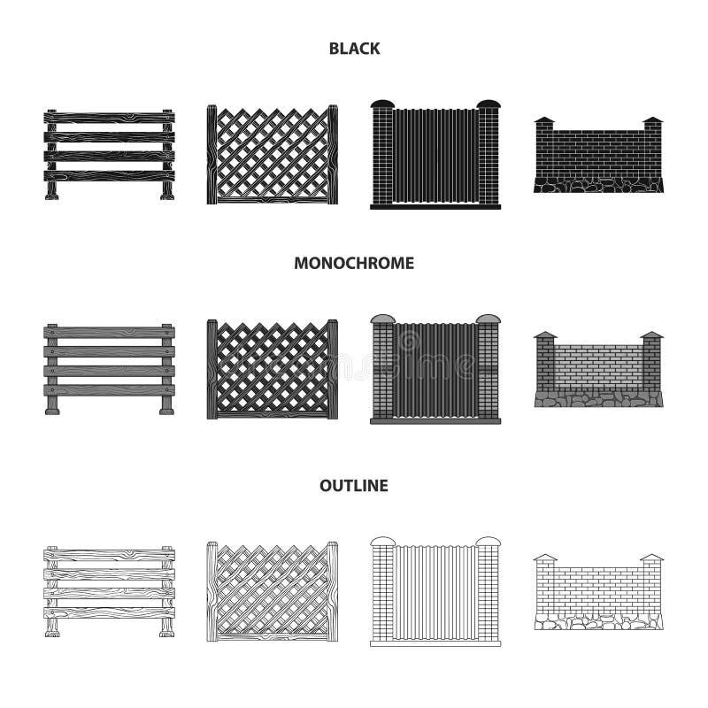 Een omheining van metaal en bakstenen, houten palissade Pictogrammen van een de verschillende omheinings vastgestelde inzameling  stock illustratie