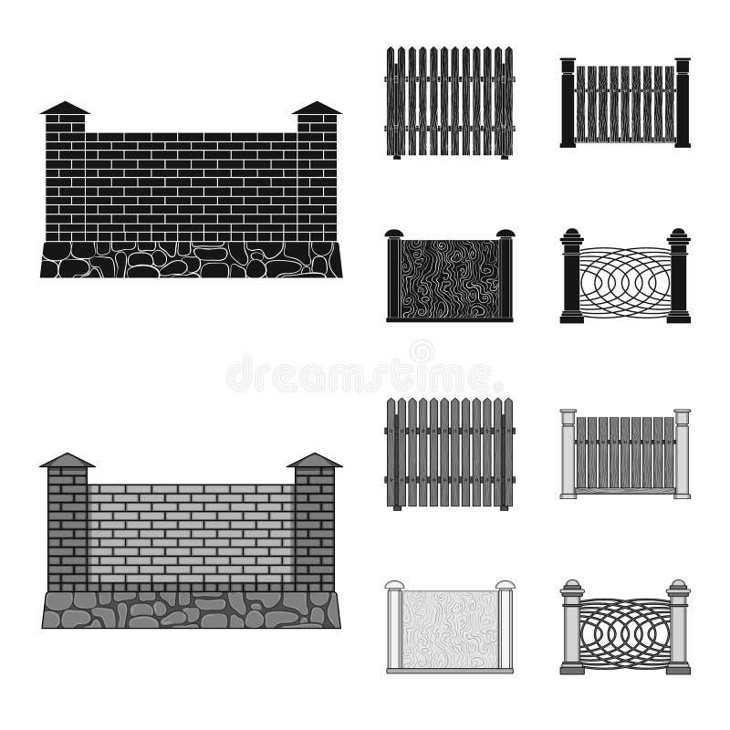 Een omheining van metaal en bakstenen, houten palissade Pictogrammen van een stileren de verschillende omheinings vastgestelde in vector illustratie