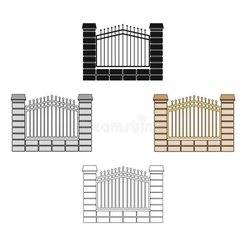 Een omheining van metaal en bakstenen Verschillend omheinings één enkel pictogram in beeldverhaal, het zwarte Web van de de voorr stock illustratie