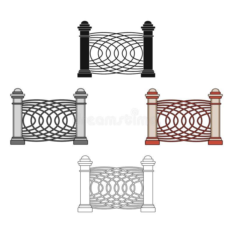 Een omheining van metaal en bakstenen Verschillend omheinings ??n enkel pictogram in beeldverhaal, het zwarte Web van de de voorr royalty-vrije illustratie