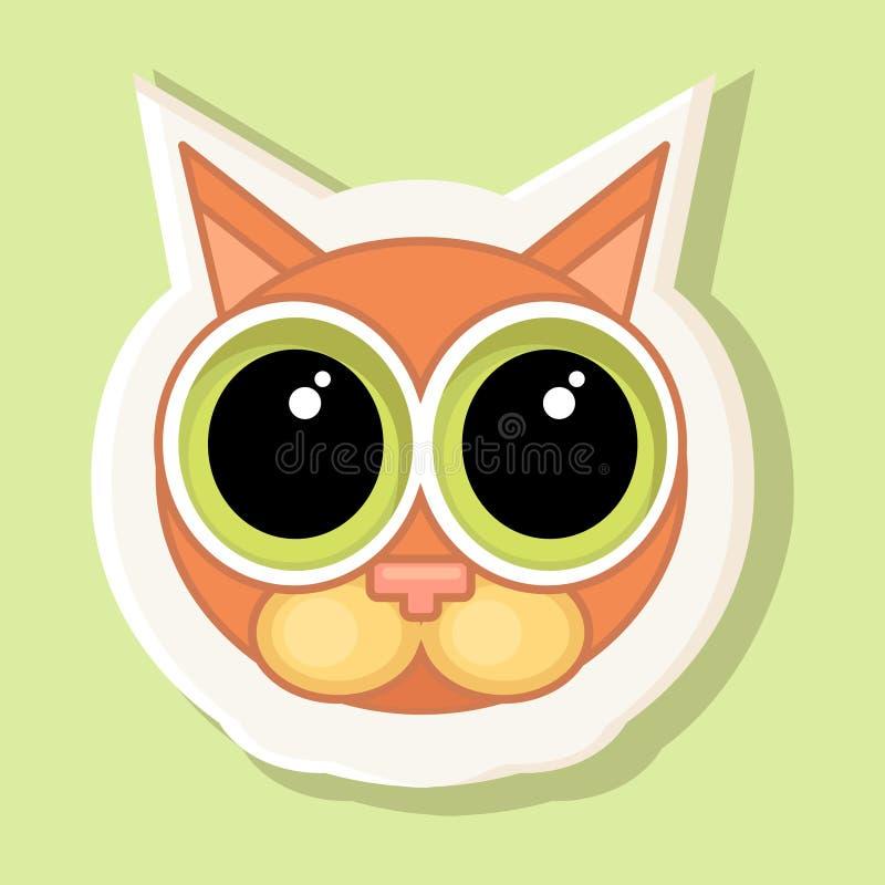 Een omvangrijke sticker met een afgeschilderde kat Gevoel van schuld, verontschuldiging vector illustratie