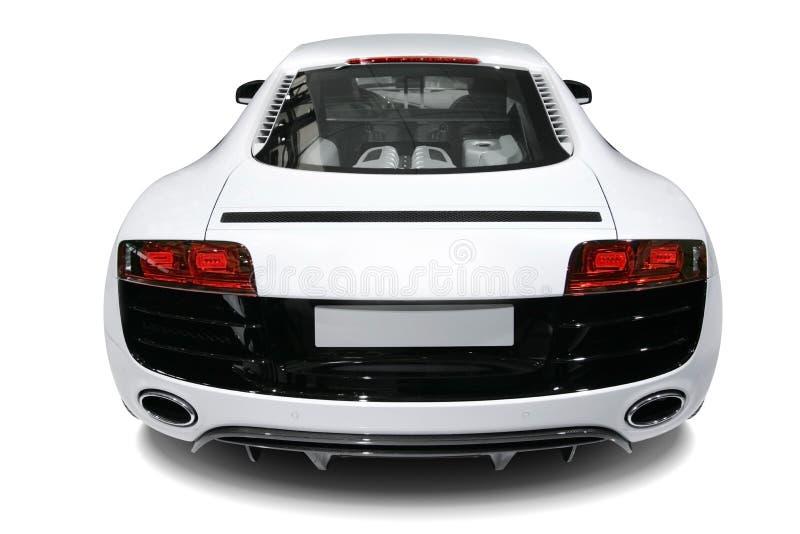Een onafhankelijke witte statische auto op witte achtergrond royalty-vrije stock fotografie