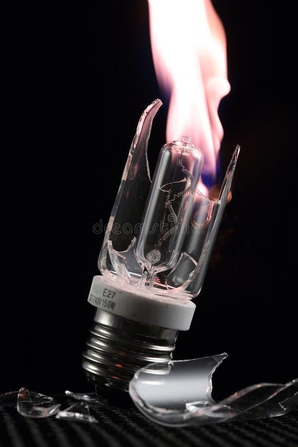 Een onderbrekingslamp met brand stock afbeeldingen