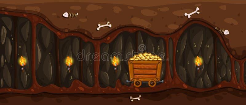 Een Ondergrondse Mijn en een Gouden Kar stock illustratie