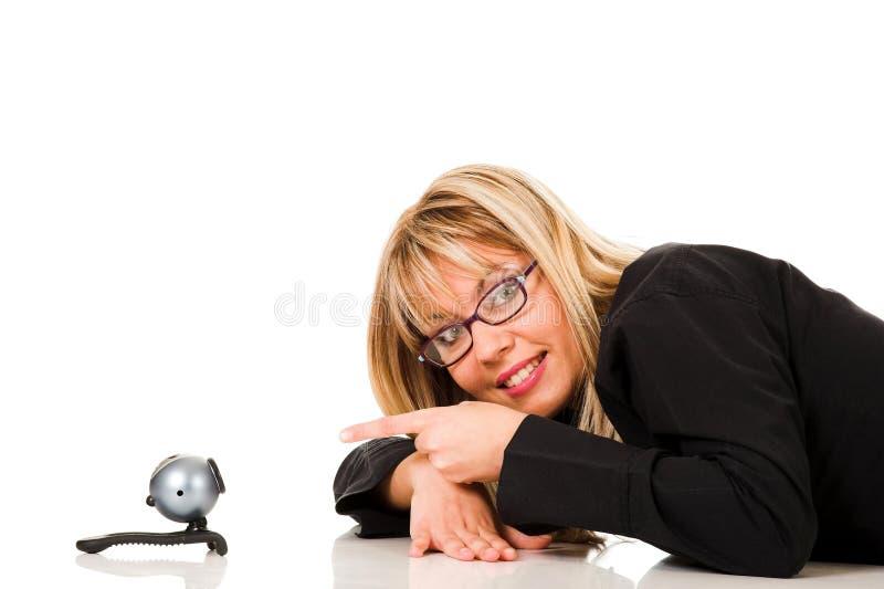 Een onderneemster en webcam royalty-vrije stock afbeelding