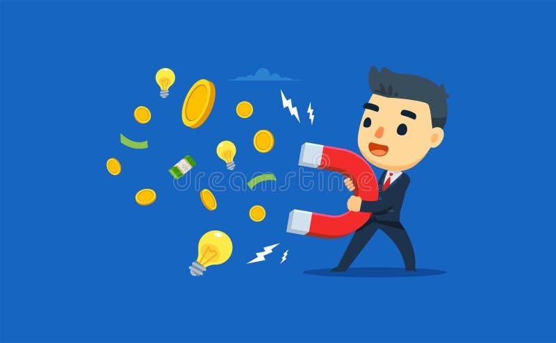 Een ondernemer trekt geld en ideeën aan met behulp van magneten vectorillustratie vector illustratie