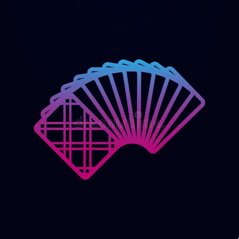 Een ongedekte dek van kaarten van het achter nolan pictogram Eenvoudige dunne lijn, omtrek vector van casino-pictogrammen voor ui vector illustratie