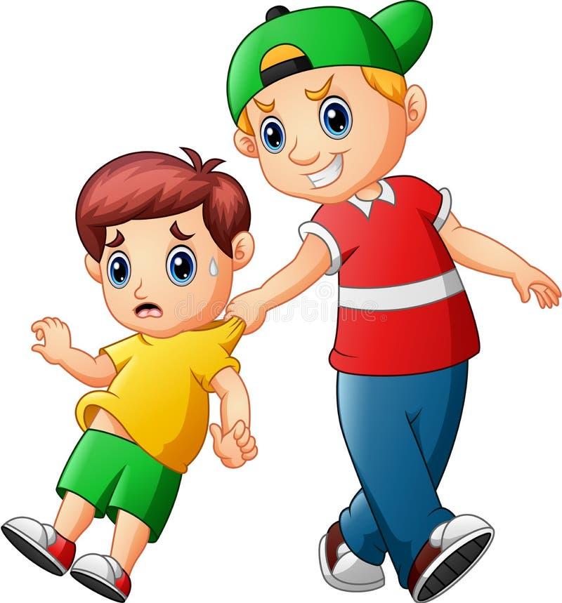 Een ongehoorzaam kind stoort een kind en doet schrikken hem vector illustratie