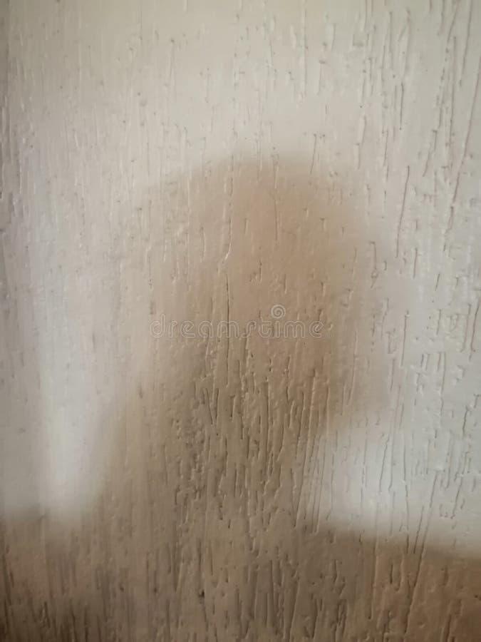 Een onscherpe schaduw van een persoon op de muur stock fotografie