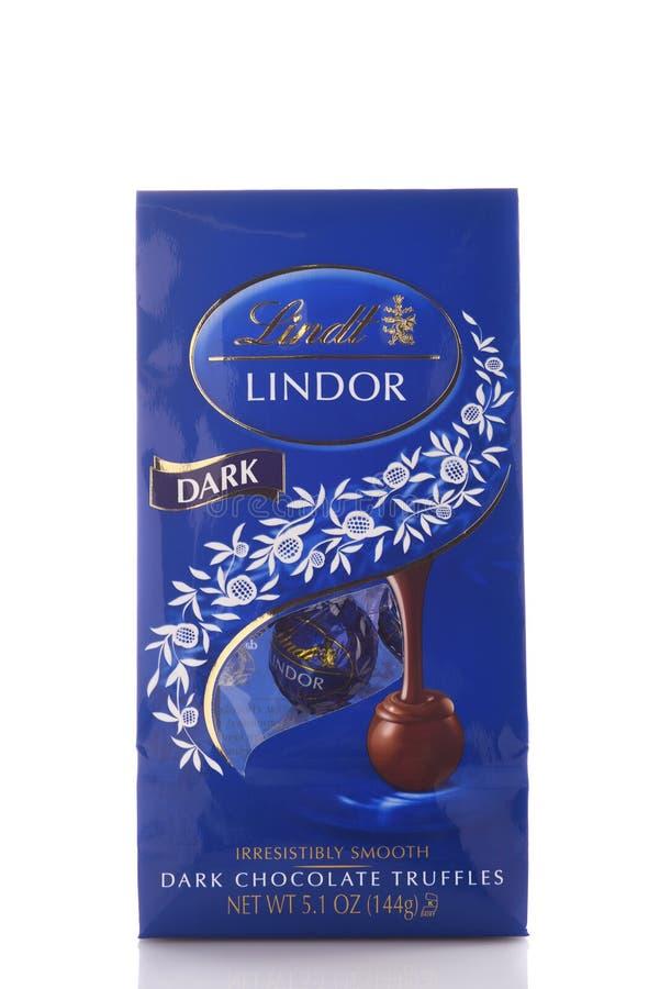 Een 5 onspakket van Donkere de Chocoladetruffels van Lindor van Lindt stock foto's