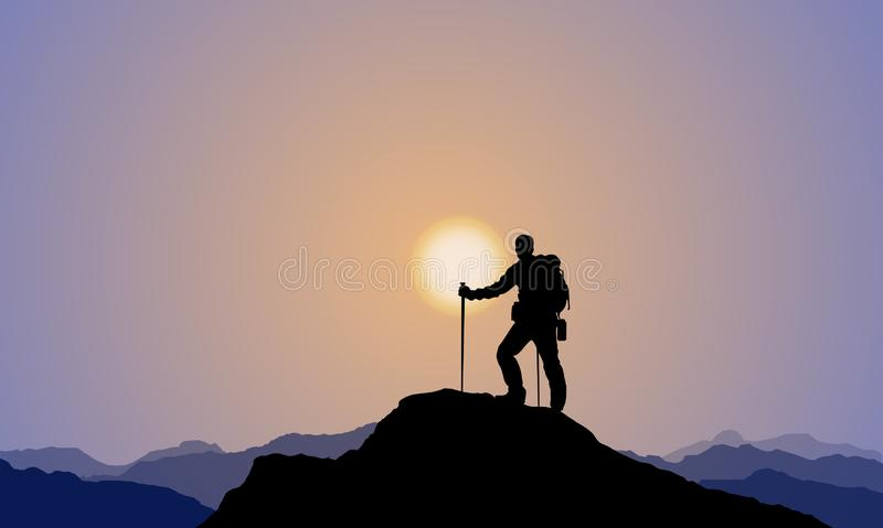 Een Ontdekkingsreiziger Climbing The Mountain, Alpinisme, Zonsondergang stock illustratie
