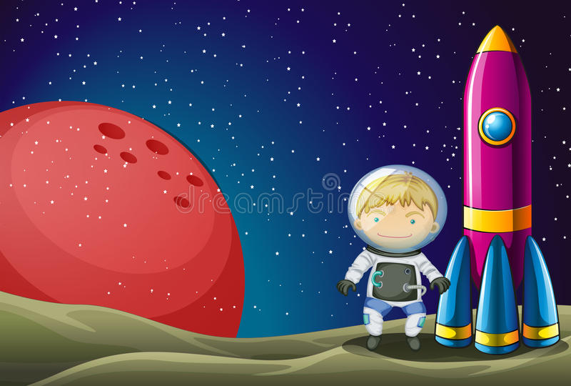 Een ontdekkingsreiziger naast de raket in outerspace stock illustratie