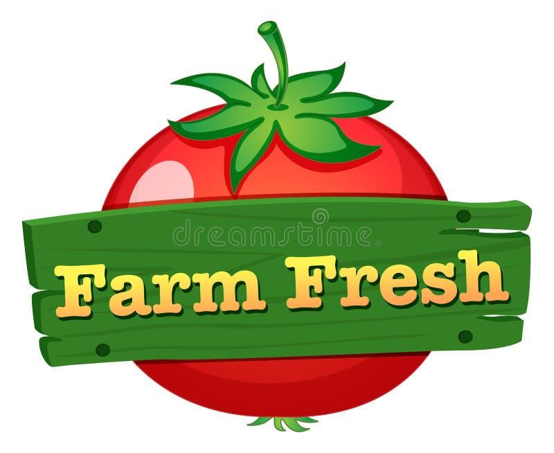 Een ontwerp van het landbouwbedrijf vers etiket met een verse tomaat royalty-vrije illustratie