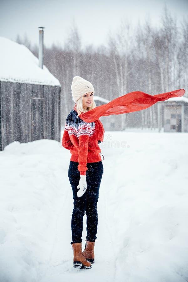 Een ontwikkelt de mooie meisjestribunes zich in het dorp in de winter, haar rode sjaal in de wind stock afbeeldingen