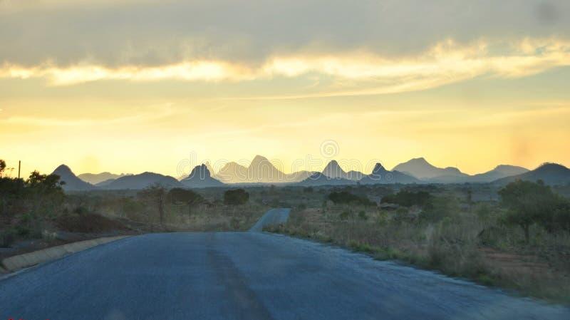 Een onvergetelijke zonsondergang in Noordelijk Mozambique royalty-vrije stock afbeeldingen