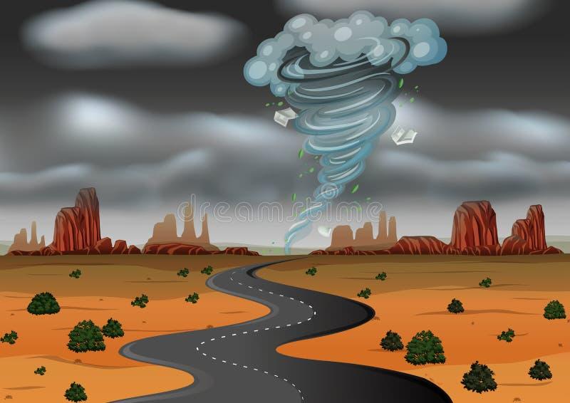 Een onweer raakte de woestijn stock illustratie