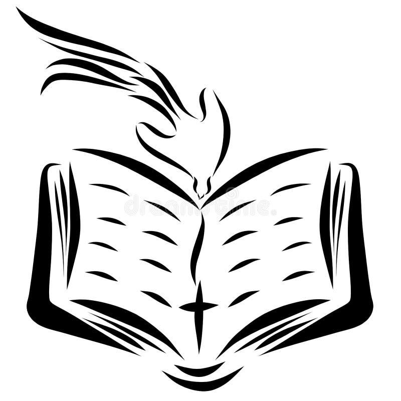 Een open Bijbel, een kruis en een duif die van Hemel dalen stock illustratie