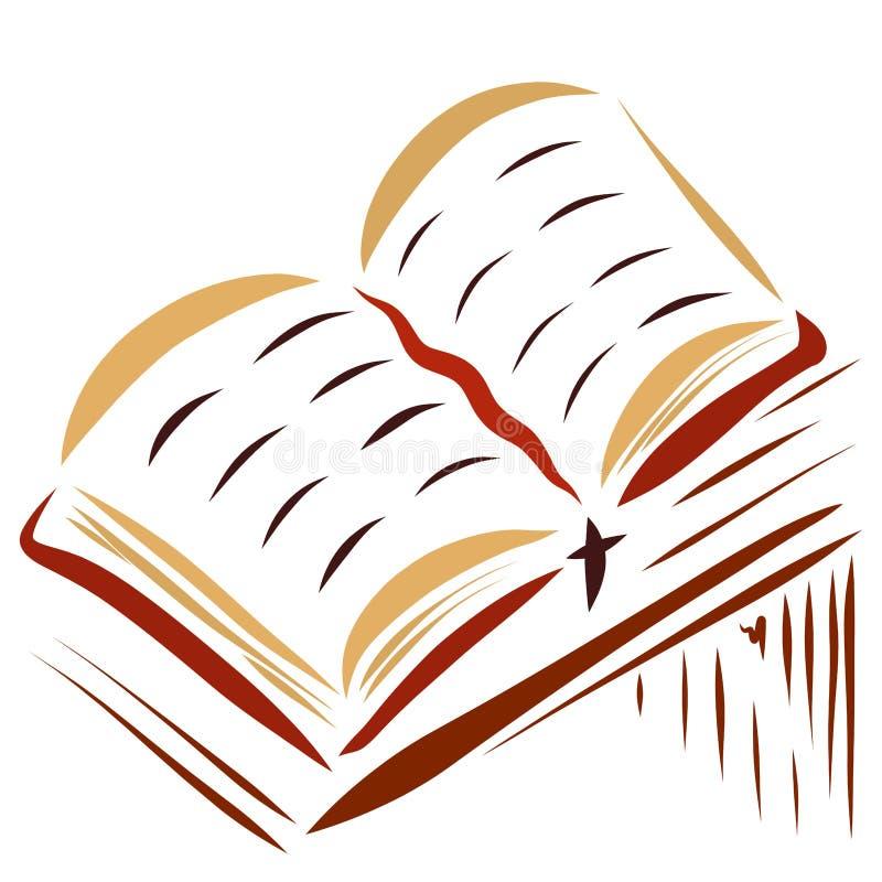 Een open boek die op een lijst, een referentie met een kruis liggen vector illustratie
