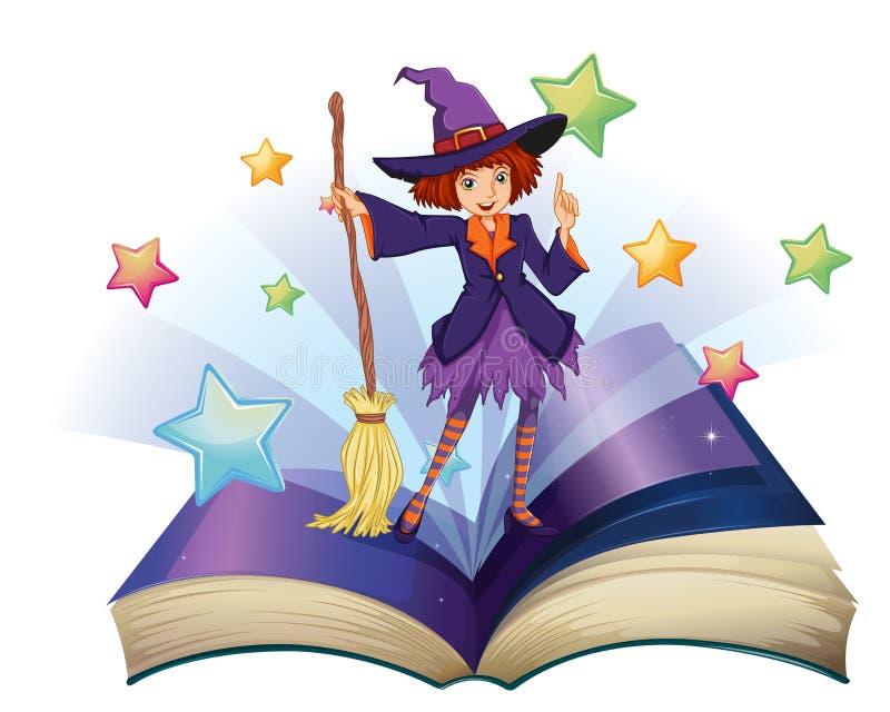 Een open boek met een beeld van een heks die een bezem houden royalty-vrije illustratie