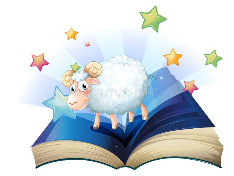 Een open boek met een beeld van een schaap stock illustratie