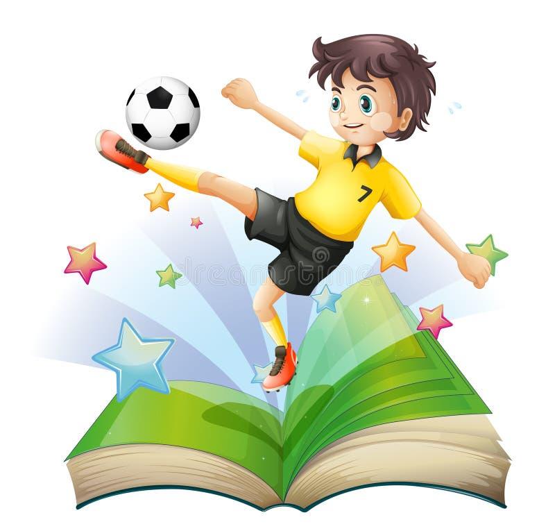 Een open boek met een beeld van een voetbalster vector illustratie