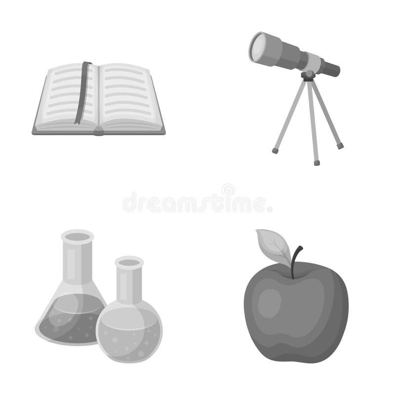 Een open boek met een referentie, een telescoop, flessen met reagentia, een rode appel Scholen en pictogrammen van de onderwijs d royalty-vrije illustratie