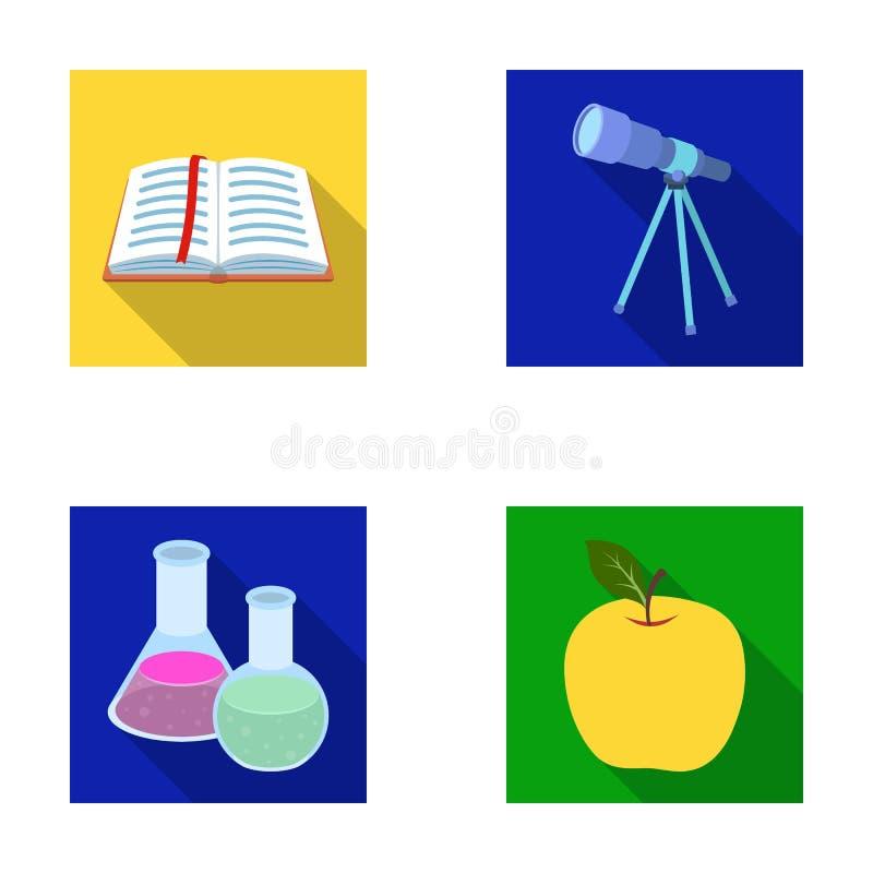 Een open boek met een referentie, een telescoop, flessen met reagentia, een rode appel Scholen en pictogrammen van de onderwijs d stock illustratie