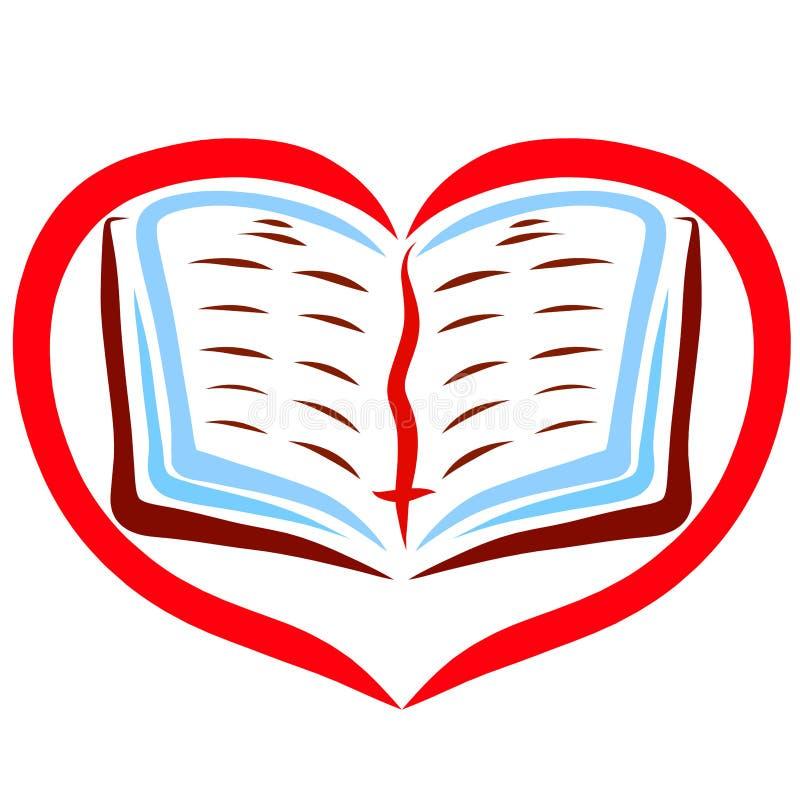 Een open boek met een referentie met een kruis in een rood hart royalty-vrije illustratie