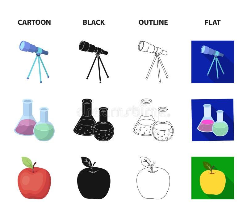 Een open boek met een referentie, een telescoop, flessen met reagentia, een rode appel Scholen en pictogrammen van de onderwijs d vector illustratie